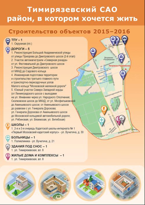 Ну а в 2015–2016 годах будут строить ТПУ у Окружной, поликлинику на Вучетича, снесут жилой дом на Тимирязевской, 8 и на этом же месте построят новый, продолжат реконструировать основные магистрали, введут последние очереди кадетской школы-интерната.