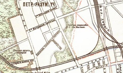Расположение соломенной сторожки на фрагменте карты Москвы 1912 года.
