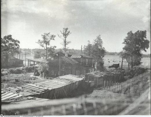 Вид на бывшую дачу Марии Месснер и поля МСХА. Снимок сделан между 1938-1950 годами.