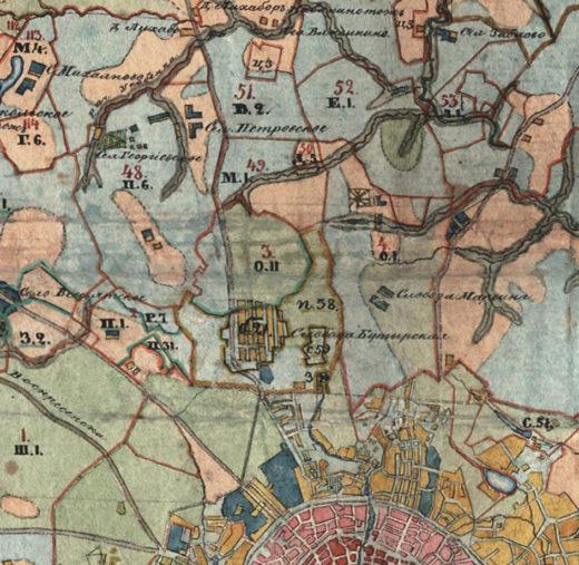 Примерно такую же картину видим на Межевой карте Московского уезда Московской губернии от 1790 года.