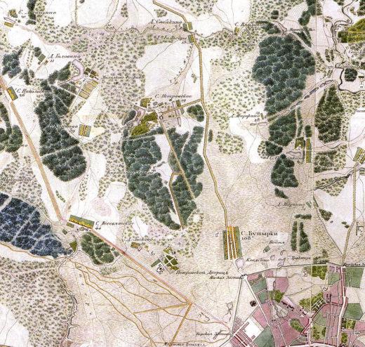 Деревня Зыково на карте 1818 года.