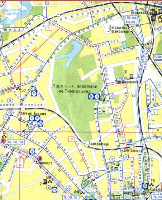 На транспортной 1987 года, совмещенной с транспортной схемой еще ходят автобусы 112, 294, 83, маршрут трамвая 27 не укорочен. Движение по Лиственничной аллее не перекрыто. Улица Вучетича имеет еще свой старый изгиб.