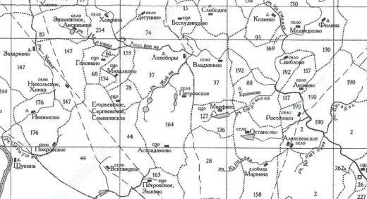 Здесь мы видим несколько отдельных сел: Петровское, Астрадамово, Петровское-Зыково, которые находились на значительном удалении от Москвы.