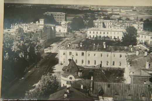 Храм Петра и Павла снесён, 1934-1935 гг. Вид с водонапорной башни конструкции Шухова (не сохранилась)
