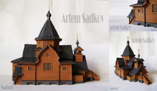 Одной из таких работ Артема стала копия храма Святителя Николая у Соломенной сторожки, который в этом году отметил столетие.