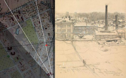 На карте Москвы 1952 года я специально выделил угол обзора художника. Левая белая линия проходит через Институт Холодильных установок и далее - ровно между профессорскими домами на Красностуденческом.