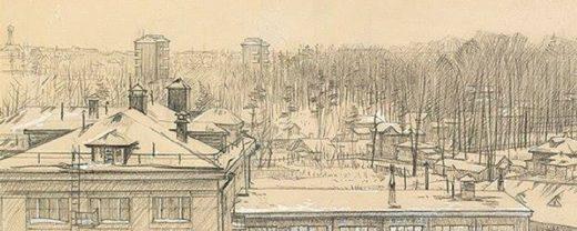 При увеличении картинки, за зданием ВНИХИ, по центру мы видим парк Дубки, с уходящей направо Ивановской улицей, на которой расположены домики-дачи.