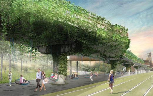 Участок напротив центрального входа ВДНХ с качелями для созерцания парковой зелени. Сверху – утопающая в листве смотровая площадка.