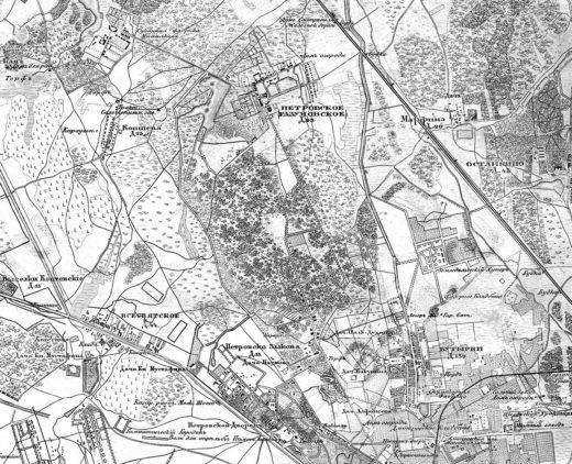 Уже к концу 70-х годов XIX века улицы района приобретают знакомые очертания. Это хорошо видно на Топографической карте окрестностей Москвы от 1878 года.