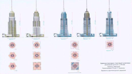 Стоит отметить, что этот проект не единственный, так в 2009 году рассматривался другой проект административно-торгового комплекса, изображенный на иллюстрации ниже.